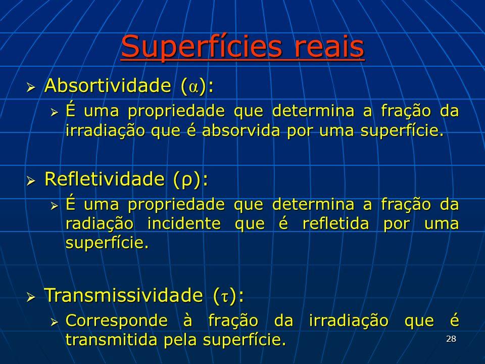 28 Superfícies reais Absortividade ( α ): Absortividade ( α ): É uma propriedade que determina a fração da irradiação que é absorvida por uma superfíc