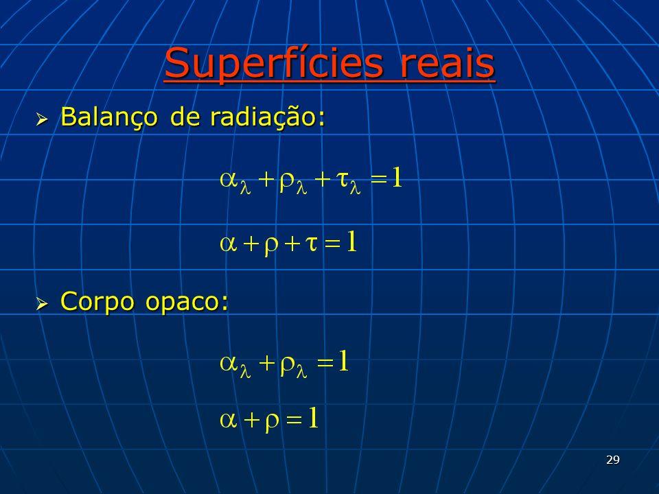 29 Superfícies reais Balanço de radiação: Balanço de radiação: Corpo opaco: Corpo opaco: