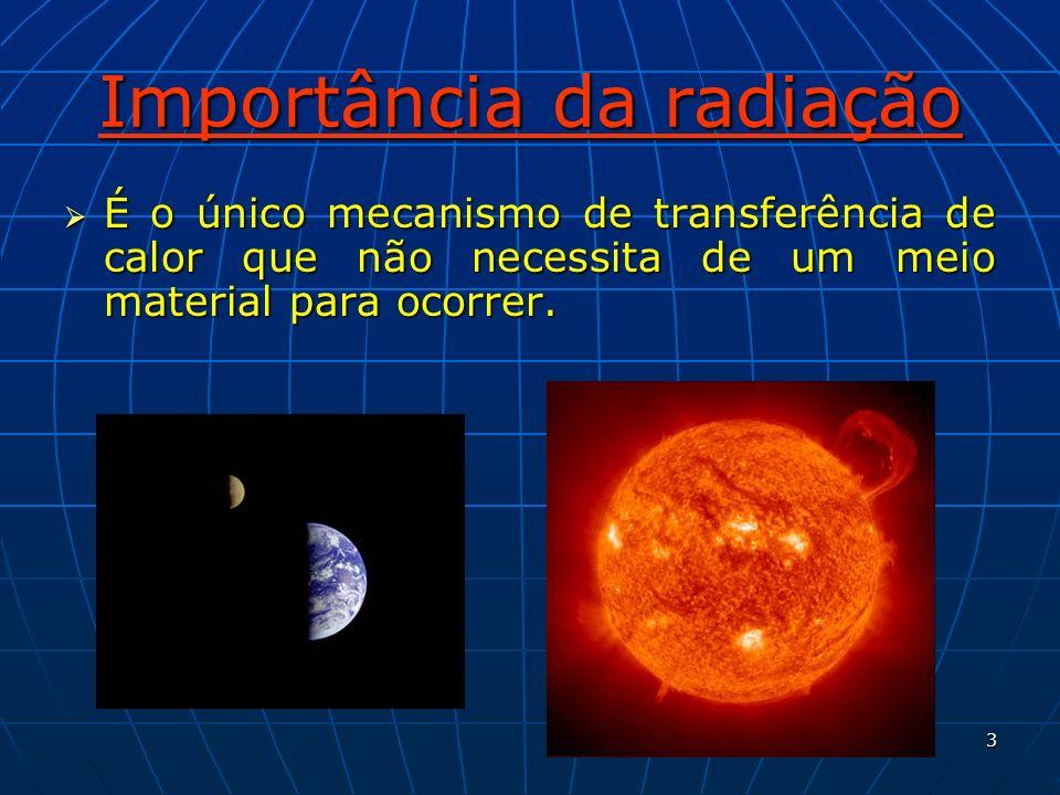 3 Importância da radiação É o único mecanismo de transferência de calor que não necessita de um meio material para ocorrer. É o único mecanismo de tra