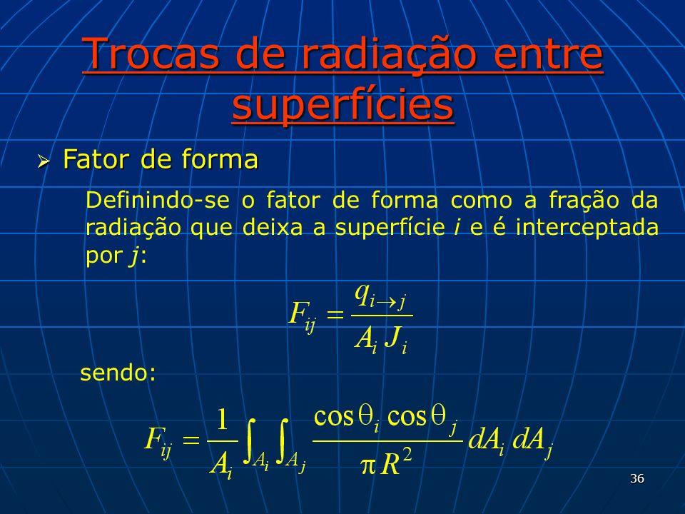 36 Trocas de radiação entre superfícies Fator de forma Fator de forma Definindo-se o fator de forma como a fração da radiação que deixa a superfície i