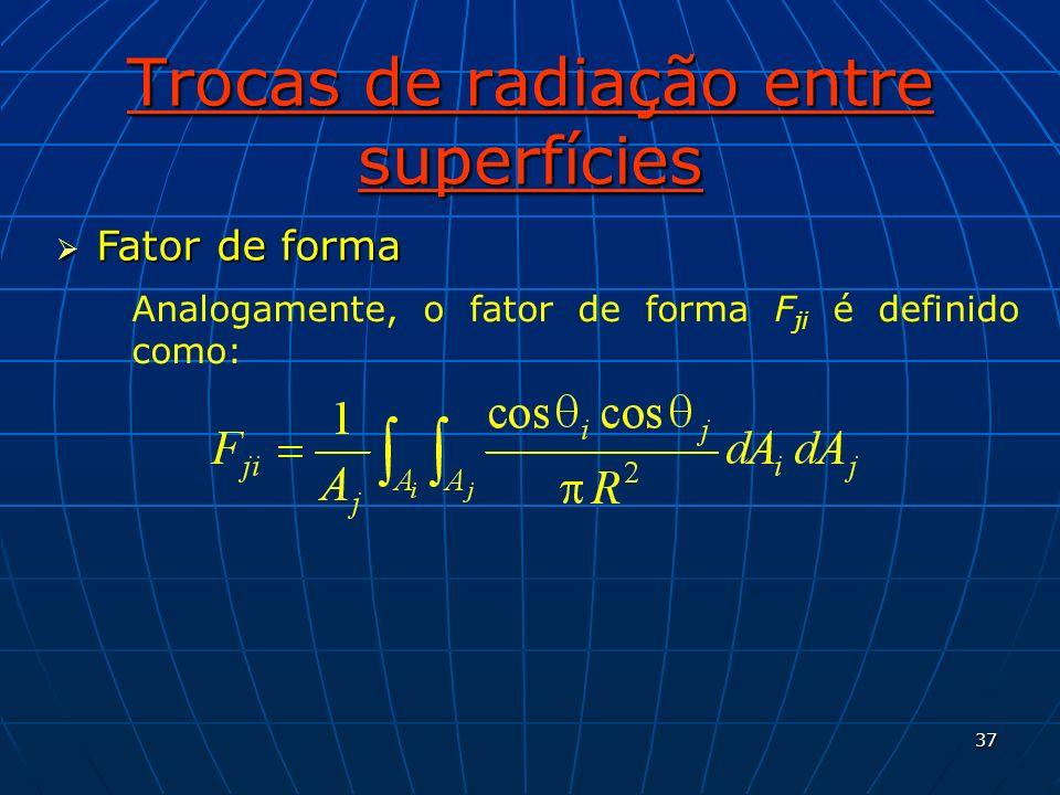37 Trocas de radiação entre superfícies Fator de forma Fator de forma Analogamente, o fator de forma F ji é definido como: