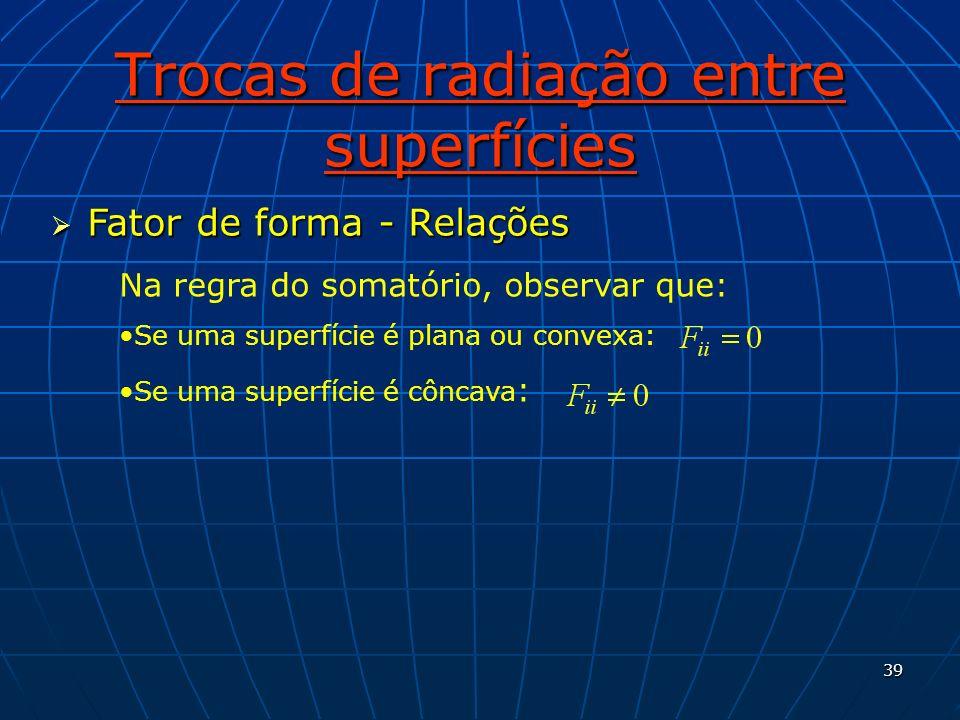 39 Trocas de radiação entre superfícies Fator de forma - Relações Fator de forma - Relações Na regra do somatório, observar que: Se uma superfície é p