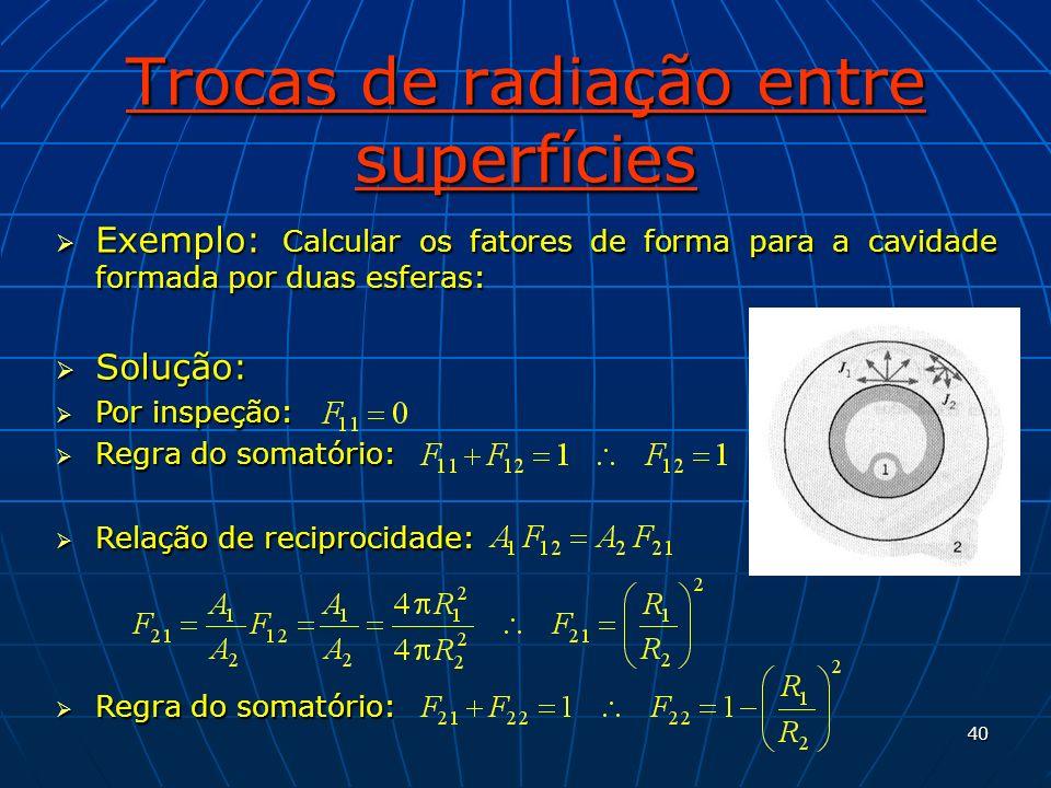 40 Trocas de radiação entre superfícies Exemplo: Calcular os fatores de forma para a cavidade formada por duas esferas: Exemplo: Calcular os fatores d