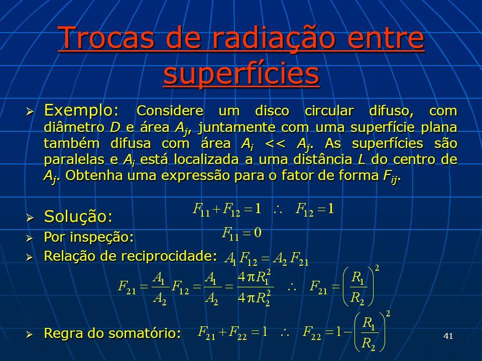 41 Trocas de radiação entre superfícies Exemplo: Considere um disco circular difuso, com diâmetro D e área A j, juntamente com uma superfície plana ta