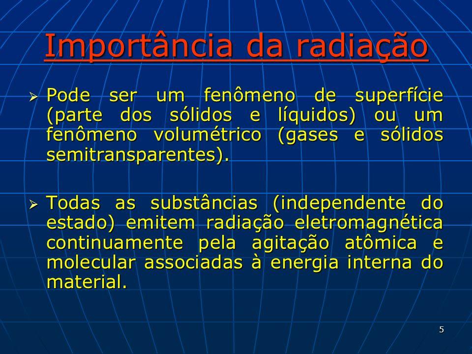 5 Importância da radiação Pode ser um fenômeno de superfície (parte dos sólidos e líquidos) ou um fenômeno volumétrico (gases e sólidos semitransparen
