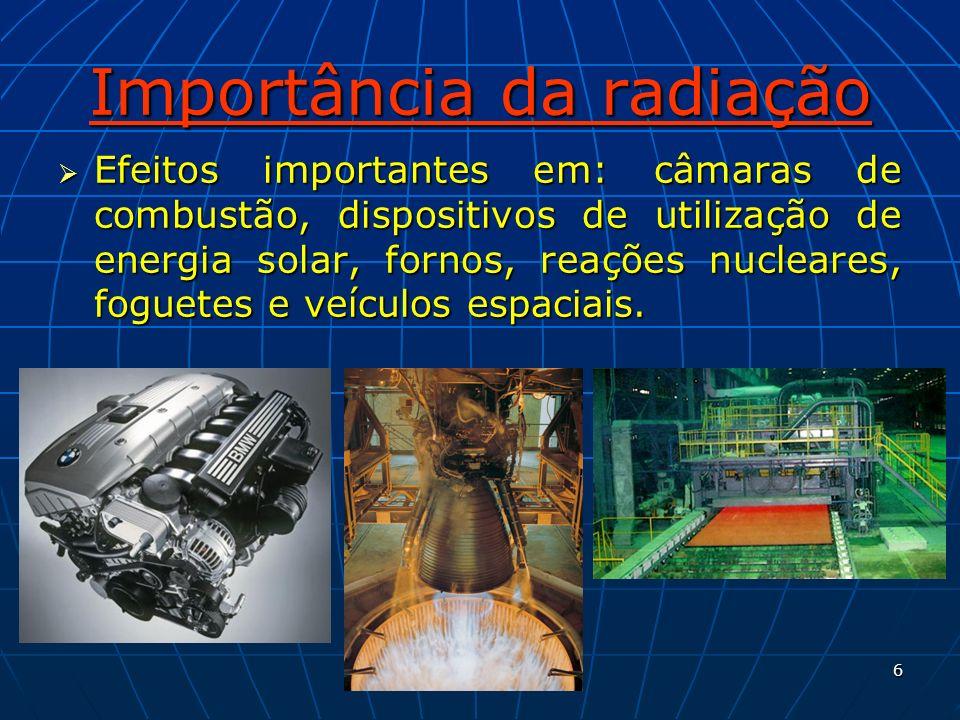 6 Importância da radiação Efeitos importantes em: câmaras de combustão, dispositivos de utilização de energia solar, fornos, reações nucleares, foguet