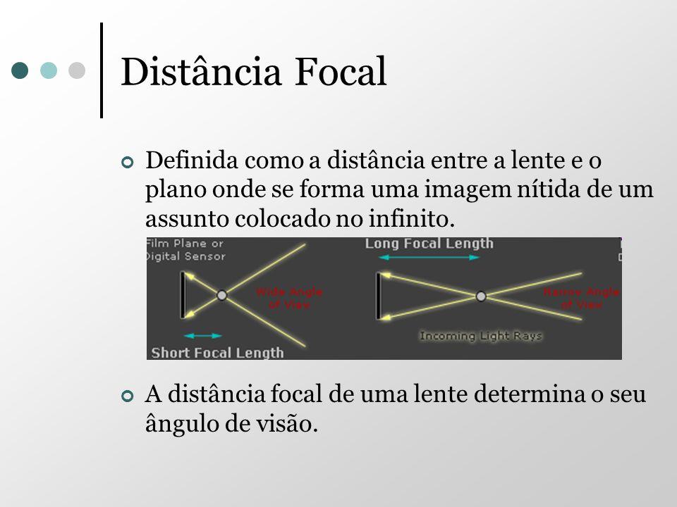 Distância Focal Definida como a distância entre a lente e o plano onde se forma uma imagem nítida de um assunto colocado no infinito. A distância foca