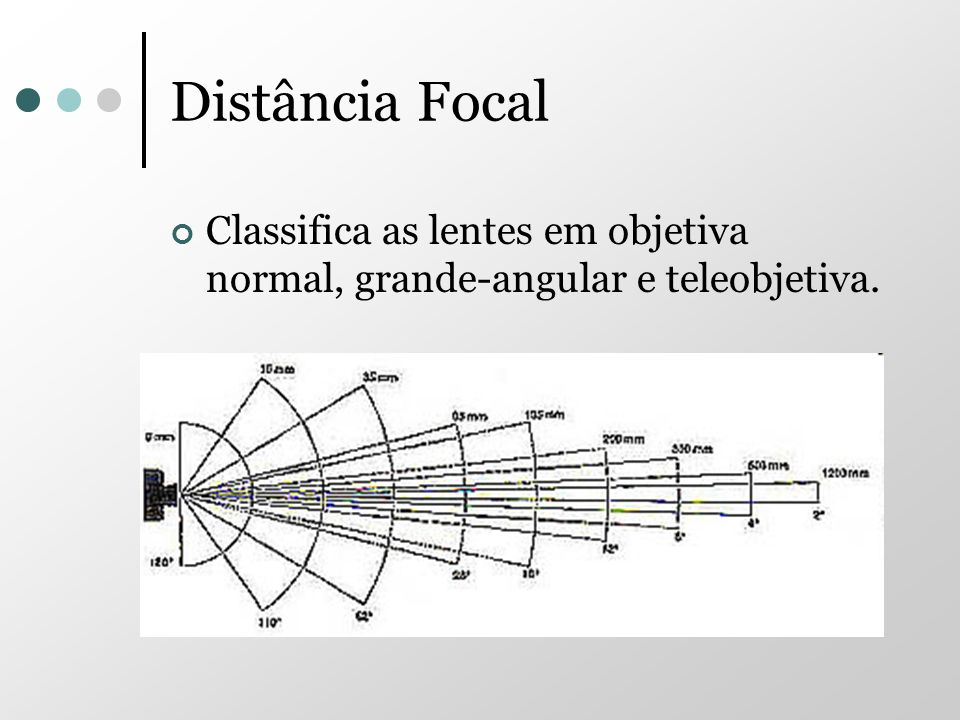 Distância Focal Classifica as lentes em objetiva normal, grande-angular e teleobjetiva.