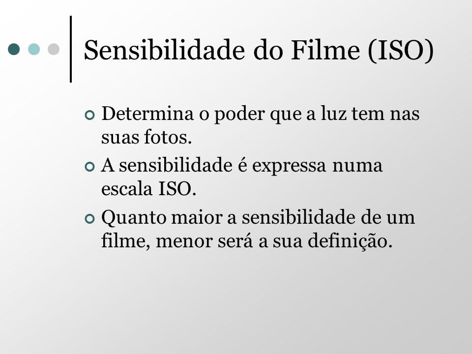 Sensibilidade do Filme (ISO) Determina o poder que a luz tem nas suas fotos. A sensibilidade é expressa numa escala ISO. Quanto maior a sensibilidade