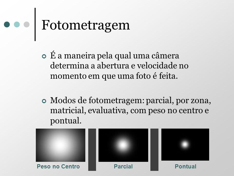 Fotometragem É a maneira pela qual uma câmera determina a abertura e velocidade no momento em que uma foto é feita. Modos de fotometragem: parcial, po