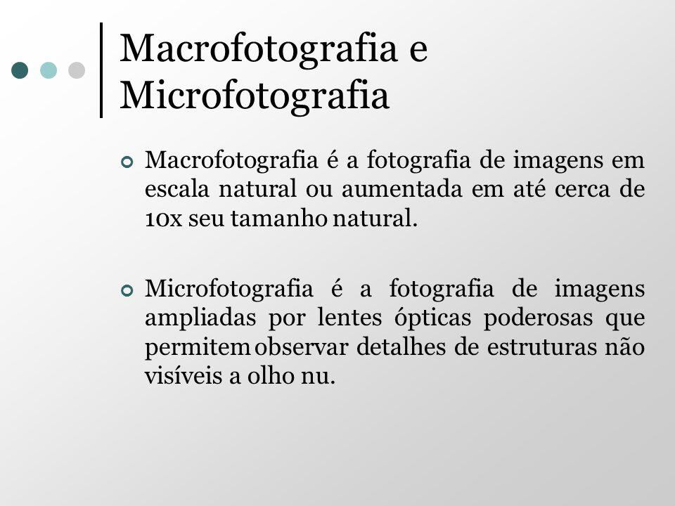 Macrofotografia e Microfotografia Macrofotografia é a fotografia de imagens em escala natural ou aumentada em até cerca de 10x seu tamanho natural. Mi