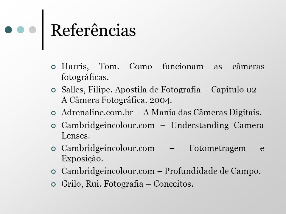 Referências Harris, Tom. Como funcionam as câmeras fotográficas. Salles, Filipe. Apostila de Fotografia – Capítulo 02 – A Câmera Fotográfica. 2004. Ad