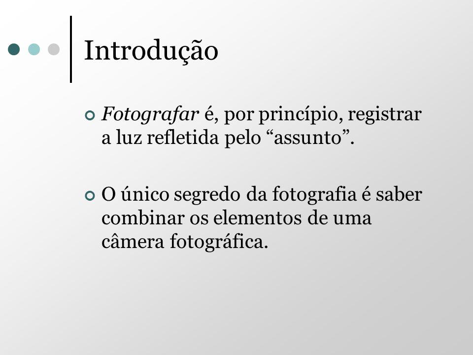 Introdução Fotografar é, por princípio, registrar a luz refletida pelo assunto. O único segredo da fotografia é saber combinar os elementos de uma câm