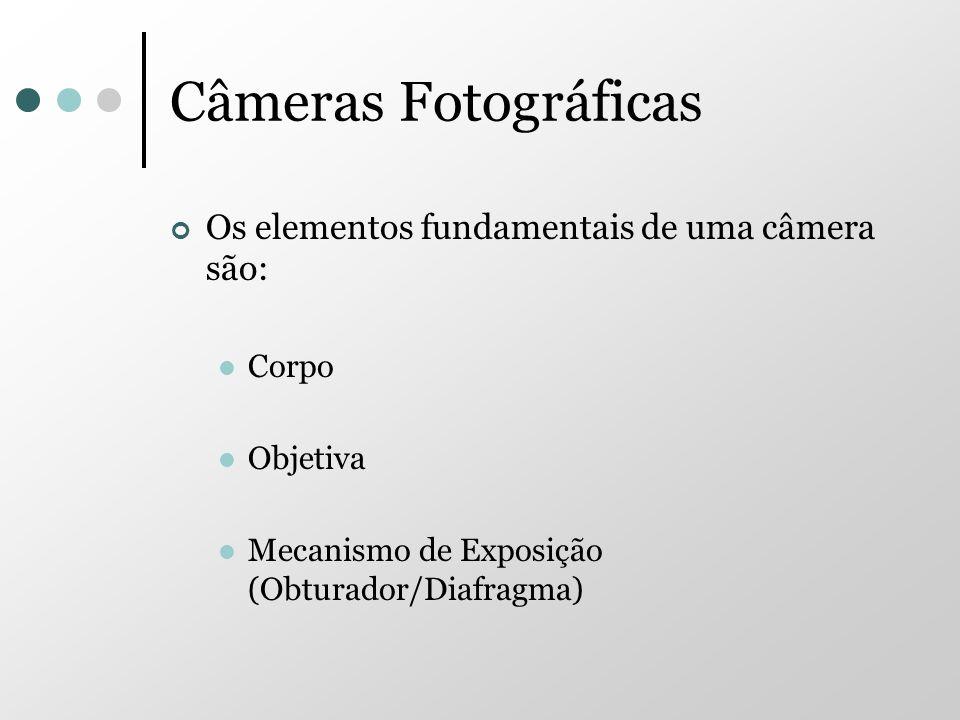 Câmeras Fotográficas Os elementos fundamentais de uma câmera são: Corpo Objetiva Mecanismo de Exposição (Obturador/Diafragma)
