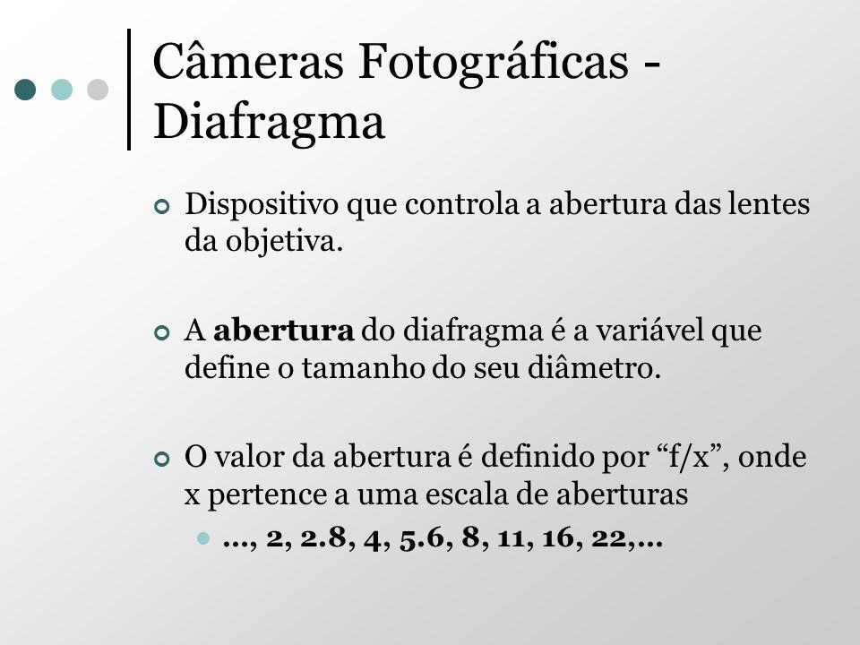 Câmeras Fotográficas - Diafragma Dispositivo que controla a abertura das lentes da objetiva. A abertura do diafragma é a variável que define o tamanho