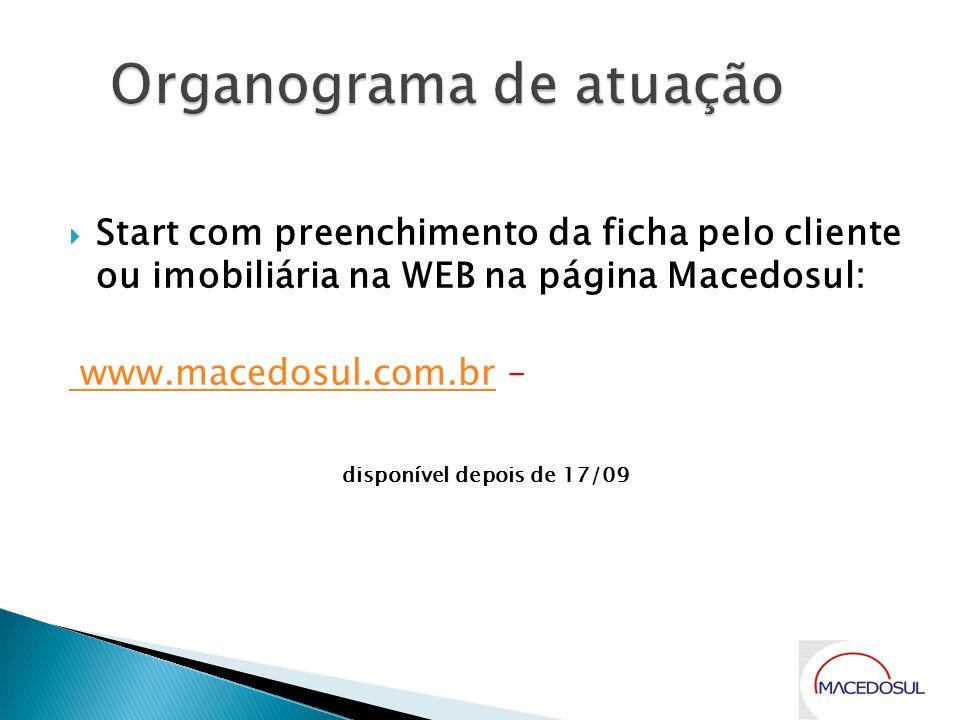 Start com preenchimento da ficha pelo cliente ou imobiliária na WEB na página Macedosul: www.macedosul.com.br www.macedosul.com.br – disponível depois