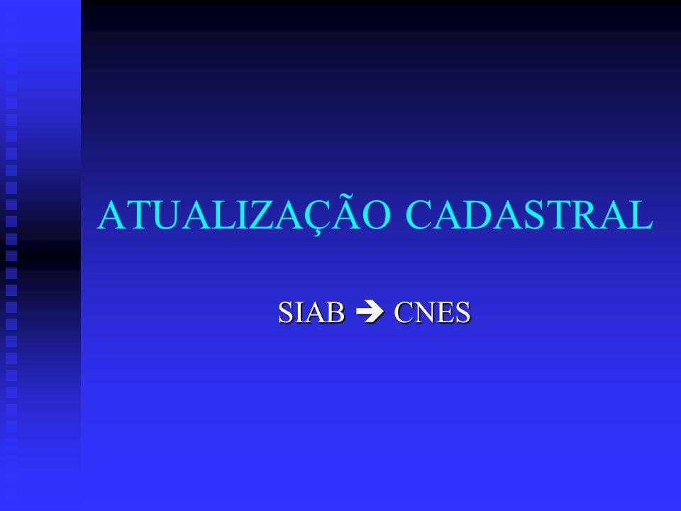 ATUALIZAÇÃO CADASTRAL SIAB CNES