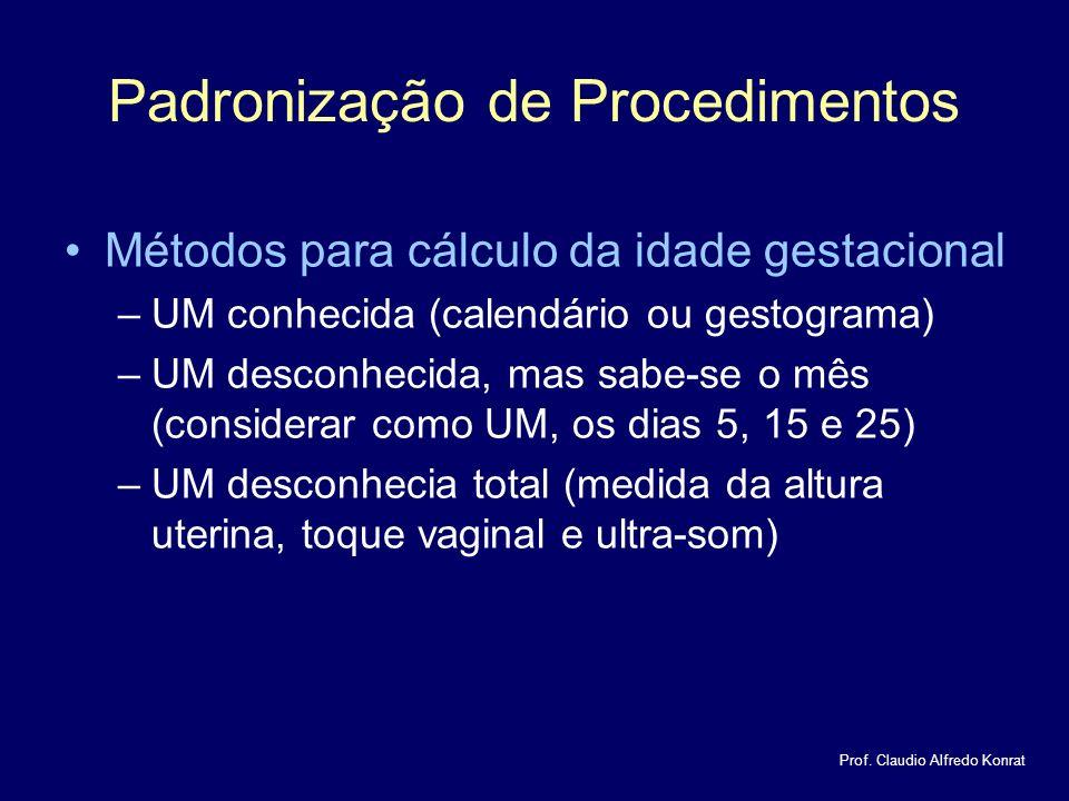 Padronização de Procedimentos Métodos para cálculo da idade gestacional –UM conhecida (calendário ou gestograma) –UM desconhecida, mas sabe-se o mês (considerar como UM, os dias 5, 15 e 25) –UM desconhecia total (medida da altura uterina, toque vaginal e ultra-som) Prof.