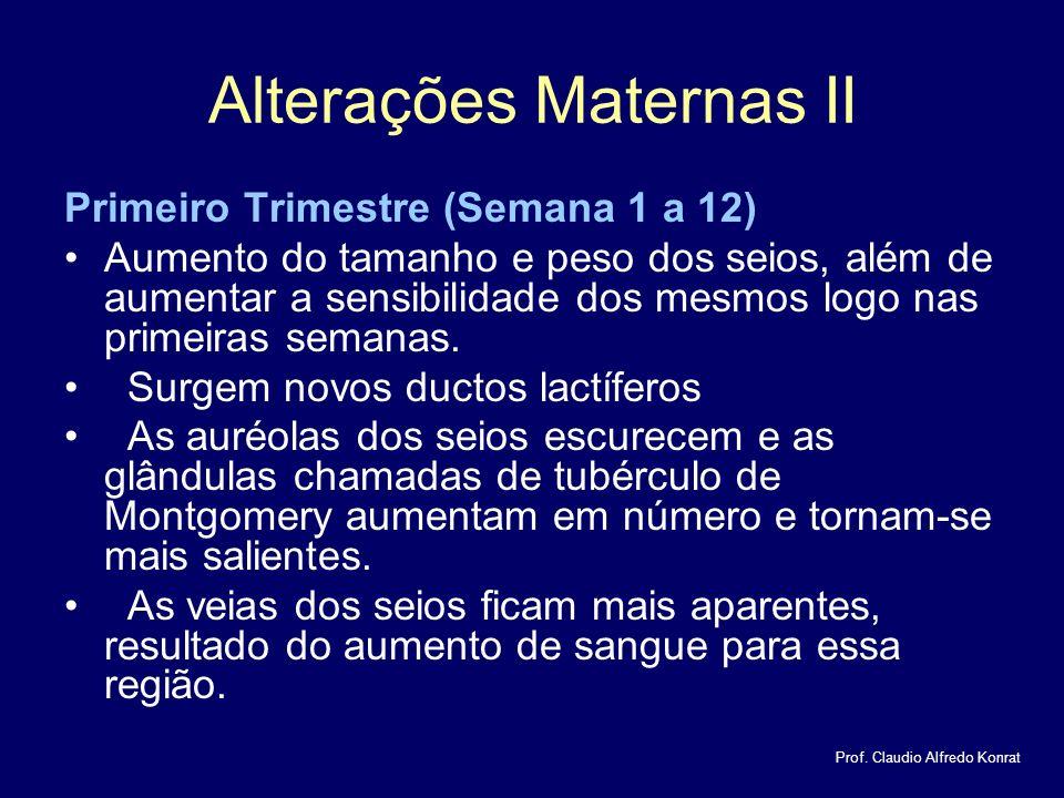 Alterações Maternas II Primeiro Trimestre (Semana 1 a 12) Aumento do tamanho e peso dos seios, além de aumentar a sensibilidade dos mesmos logo nas primeiras semanas.