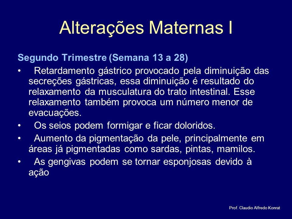Alterações Maternas I Segundo Trimestre (Semana 13 a 28) Retardamento gástrico provocado pela diminuição das secreções gástricas, essa diminuição é resultado do relaxamento da musculatura do trato intestinal.