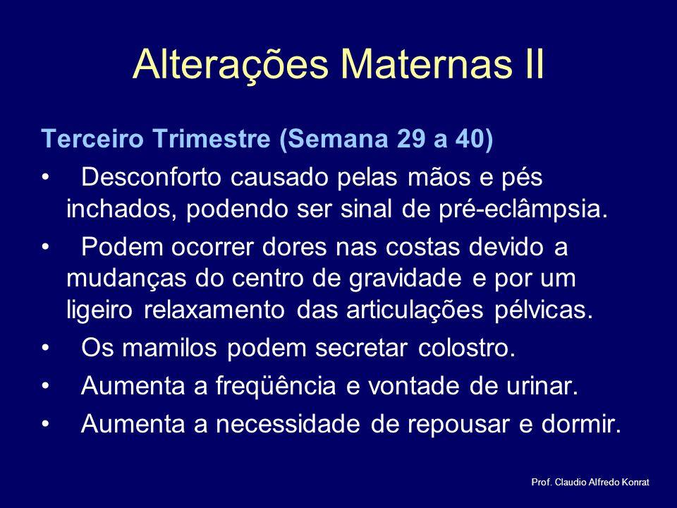 Alterações Maternas II Terceiro Trimestre (Semana 29 a 40) Desconforto causado pelas mãos e pés inchados, podendo ser sinal de pré-eclâmpsia.