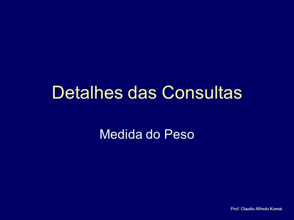 Detalhes das Consultas Medida do Peso Prof. Claudio Alfredo Konrat