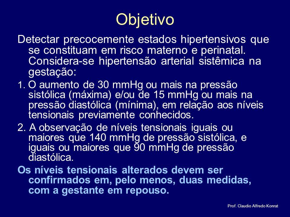 Objetivo Detectar precocemente estados hipertensivos que se constituam em risco materno e perinatal.