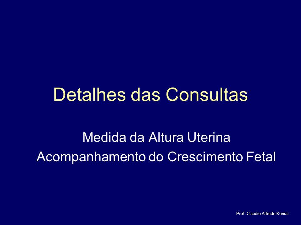 Detalhes das Consultas Medida da Altura Uterina Acompanhamento do Crescimento Fetal Prof.