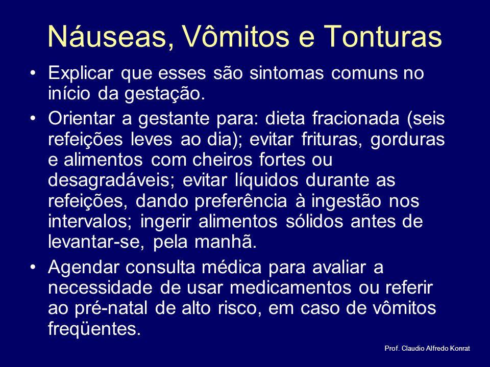 Náuseas, Vômitos e Tonturas Explicar que esses são sintomas comuns no início da gestação.