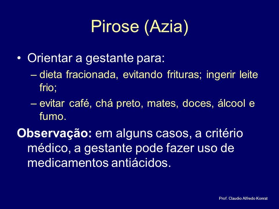 Pirose (Azia) Orientar a gestante para: –dieta fracionada, evitando frituras; ingerir leite frio; –evitar café, chá preto, mates, doces, álcool e fumo.
