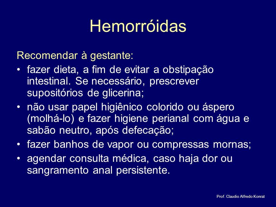 Hemorróidas Recomendar à gestante: fazer dieta, a fim de evitar a obstipação intestinal.