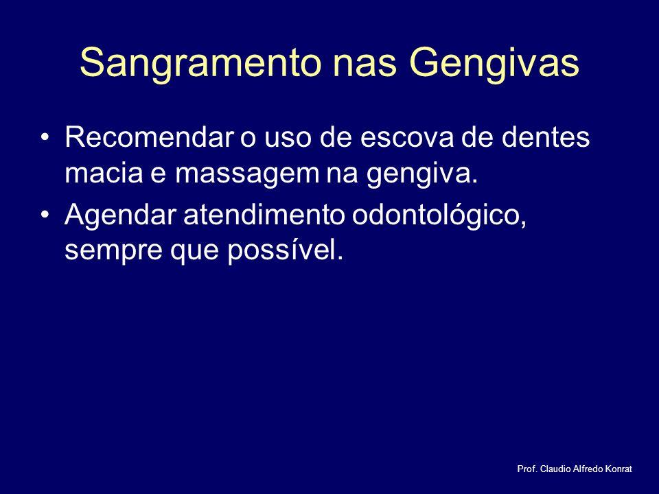 Sangramento nas Gengivas Recomendar o uso de escova de dentes macia e massagem na gengiva.