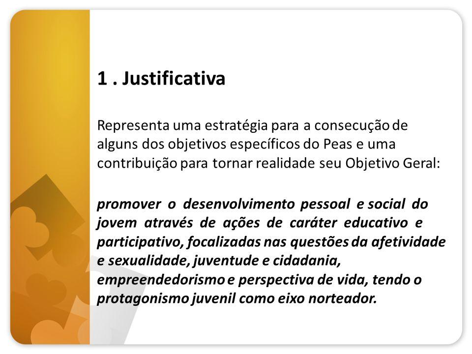 1. Justificativa Representa uma estratégia para a consecução de alguns dos objetivos específicos do Peas e uma contribuição para tornar realidade seu