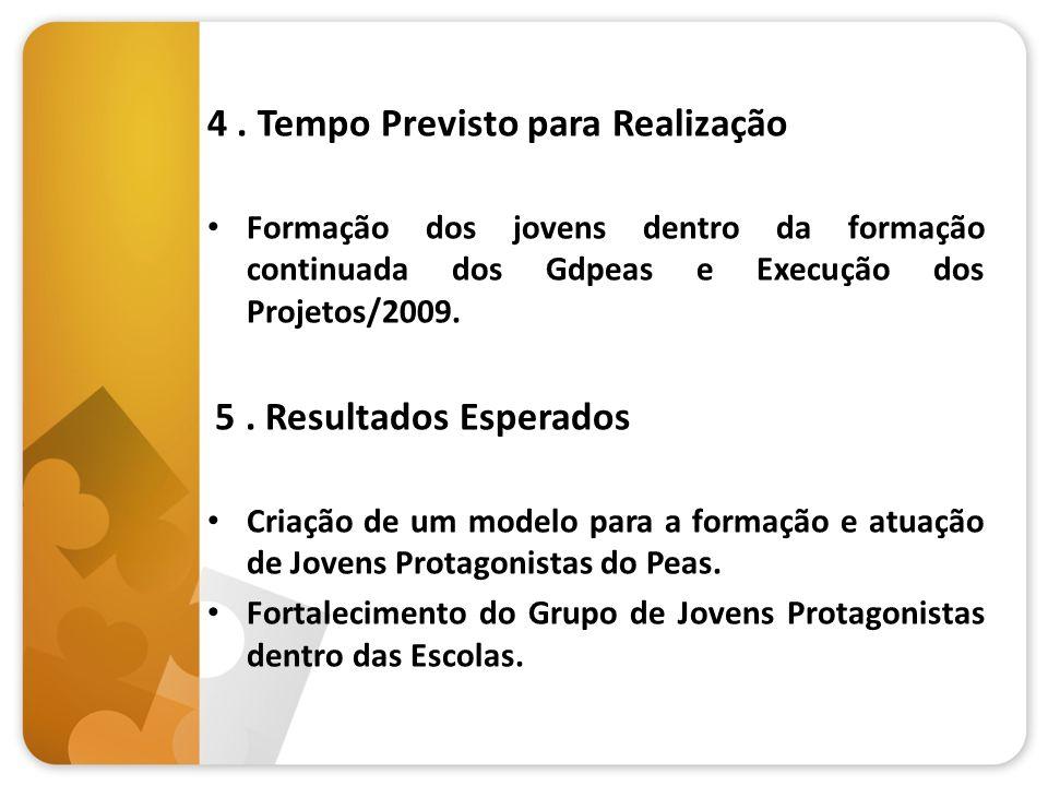 4. Tempo Previsto para Realização Formação dos jovens dentro da formação continuada dos Gdpeas e Execução dos Projetos/2009. 5. Resultados Esperados C