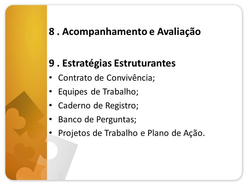 8. Acompanhamento e Avaliação 9. Estratégias Estruturantes Contrato de Convivência; Equipes de Trabalho; Caderno de Registro; Banco de Perguntas; Proj