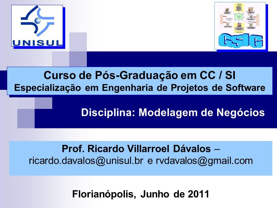 Disciplina: Modelagem de Negócios Curso de Pós-Graduação em CC / SI Especialização em Engenharia de Projetos de Software Curso de Pós-Graduação em CC