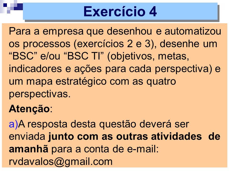 Para a empresa que desenhou e automatizou os processos (exercícios 2 e 3), desenhe um BSC e/ou BSC TI (objetivos, metas, indicadores e ações para cada