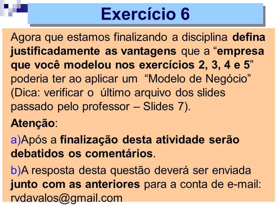 Agora que estamos finalizando a disciplina defina justificadamente as vantagens que a empresa que você modelou nos exercícios 2, 3, 4 e 5 poderia ter