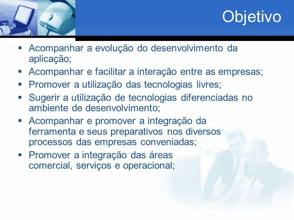 Objetivo Acompanhar a evolução do desenvolvimento da aplicação; Acompanhar e facilitar a interação entre as empresas; Promover a utilização das tecnol