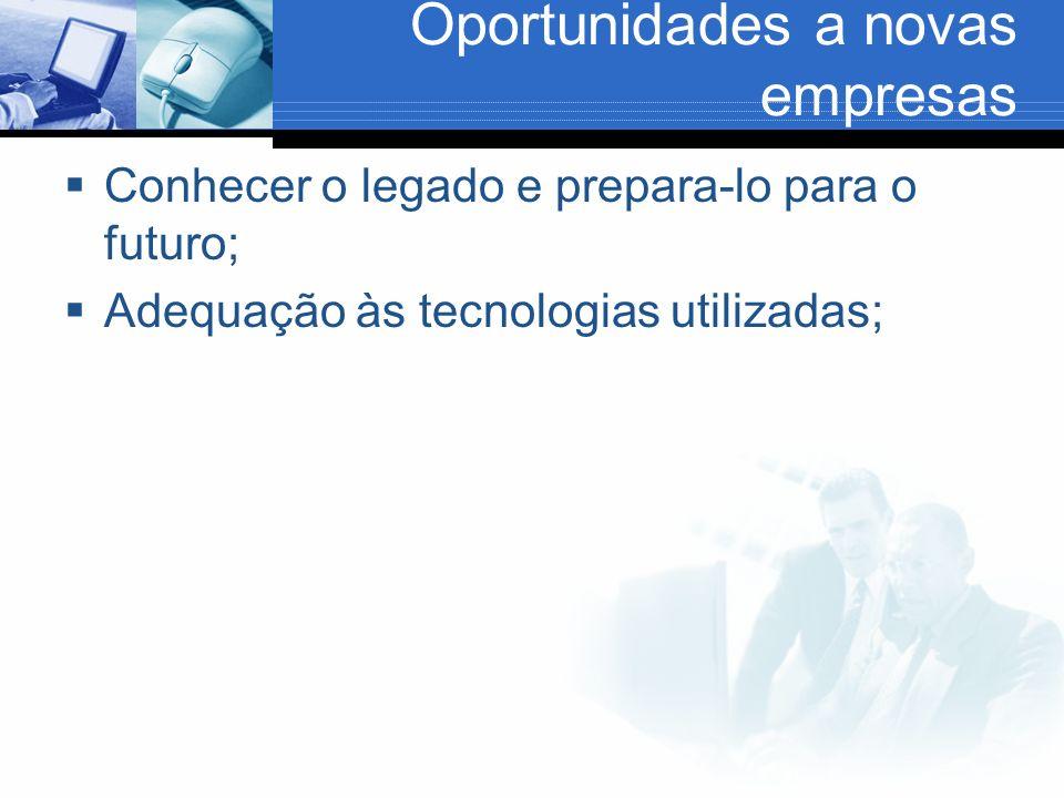 Oportunidades a novas empresas Conhecer o legado e prepara-lo para o futuro; Adequação às tecnologias utilizadas;