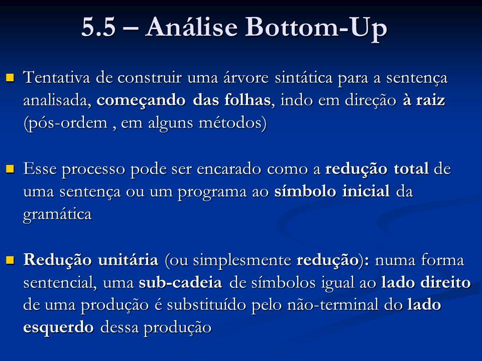S a A B e A A b c | b B d Simulação da redução de a b b c d e: Observa-se que Pilha Entrada é uma forma sentencial (derivada de S), se a entrada for correta PilhaEntrada a A b c d e Lado direito de uma produção: Reduzir