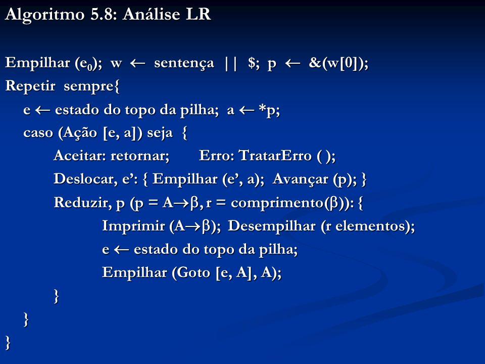 Algoritmo 5.8: Análise LR Empilhar (e 0 ); w sentença || $; p &(w[0]); Repetir sempre{ e estado do topo da pilha; a *p; caso (Ação [e, a]) seja { Acei
