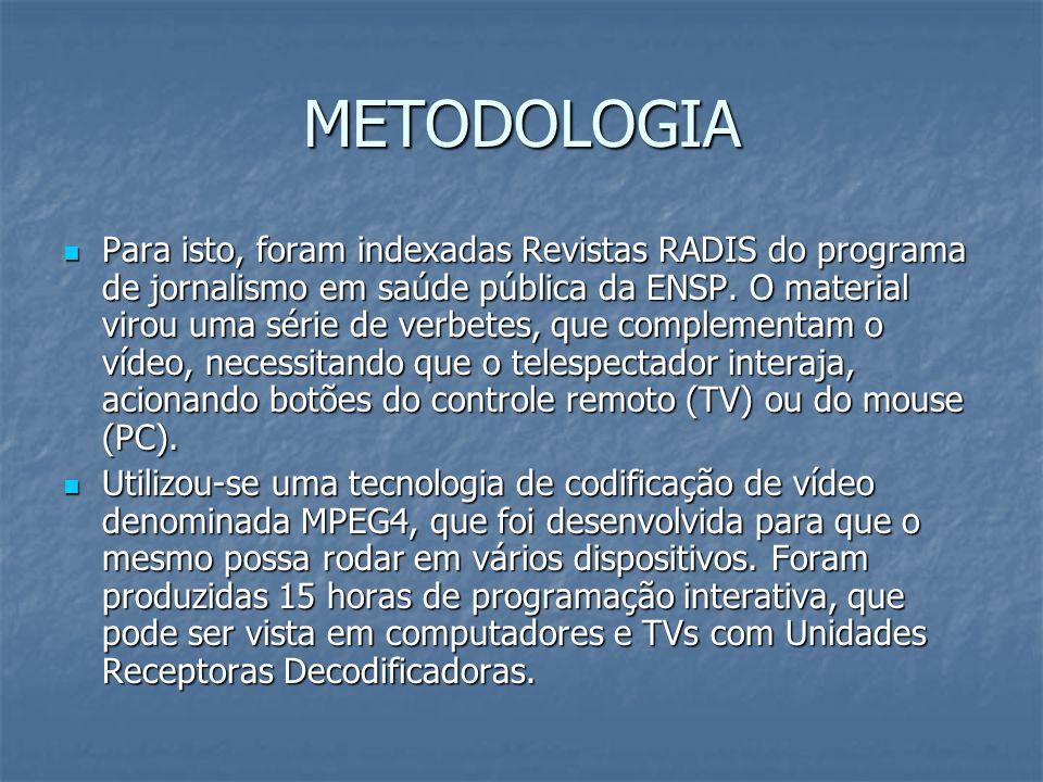 METODOLOGIA Para isto, foram indexadas Revistas RADIS do programa de jornalismo em saúde pública da ENSP. O material virou uma série de verbetes, que