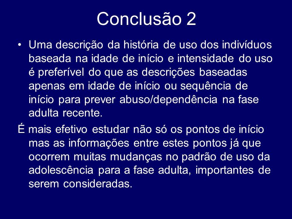 Conclusão 2 Uma descrição da história de uso dos indivíduos baseada na idade de início e intensidade do uso é preferível do que as descrições baseadas