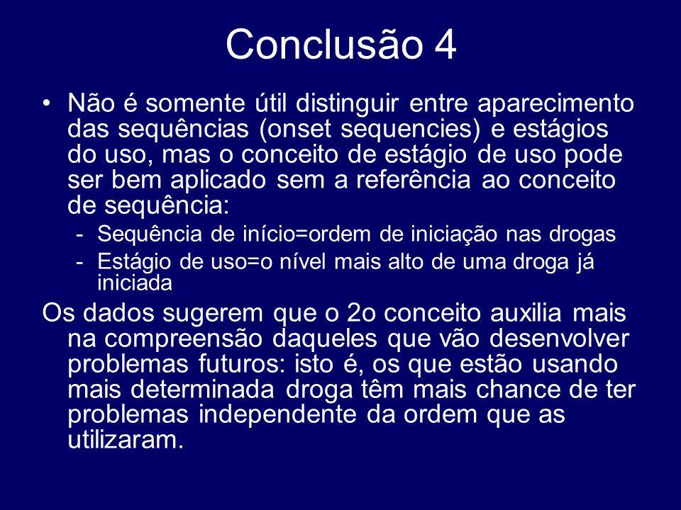 Conclusão 4 Não é somente útil distinguir entre aparecimento das sequências (onset sequencies) e estágios do uso, mas o conceito de estágio de uso pod