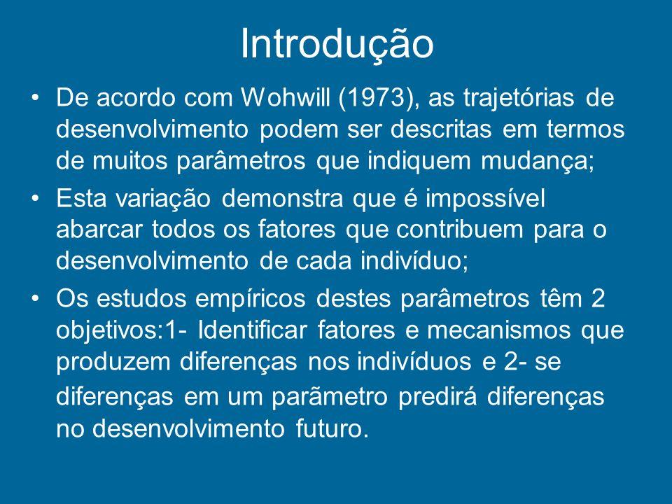 Introdução De acordo com Wohwill (1973), as trajetórias de desenvolvimento podem ser descritas em termos de muitos parâmetros que indiquem mudança; Es