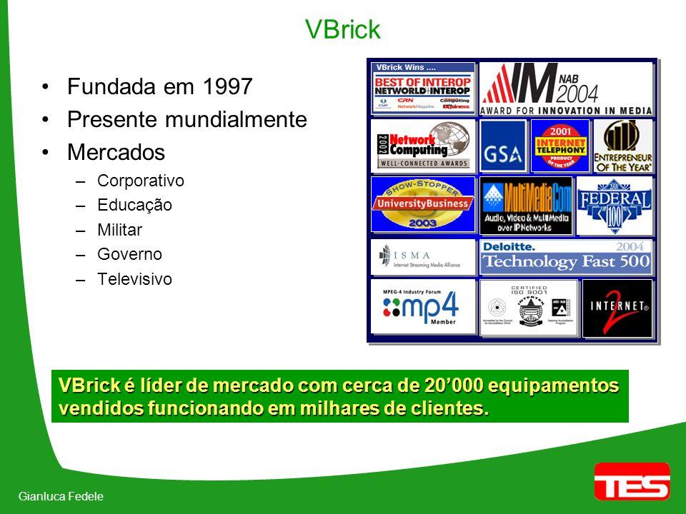 VBrick Fundada em 1997 Presente mundialmente Mercados –Corporativo –Educação –Militar –Governo –Televisivo VBrick é líder de mercado com cerca de 20000 equipamentos vendidos funcionando em milhares de clientes.