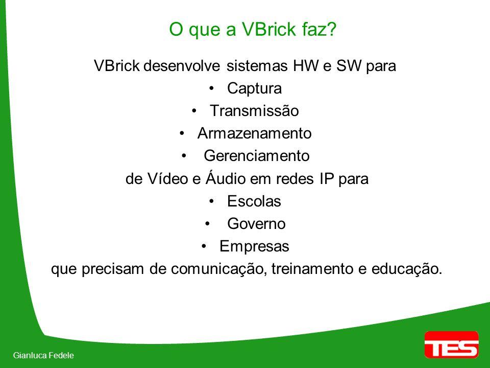 Gianluca Fedele O que a VBrick faz? VBrick desenvolve sistemas HW e SW para Captura Transmissão Armazenamento Gerenciamento de Vídeo e Áudio em redes