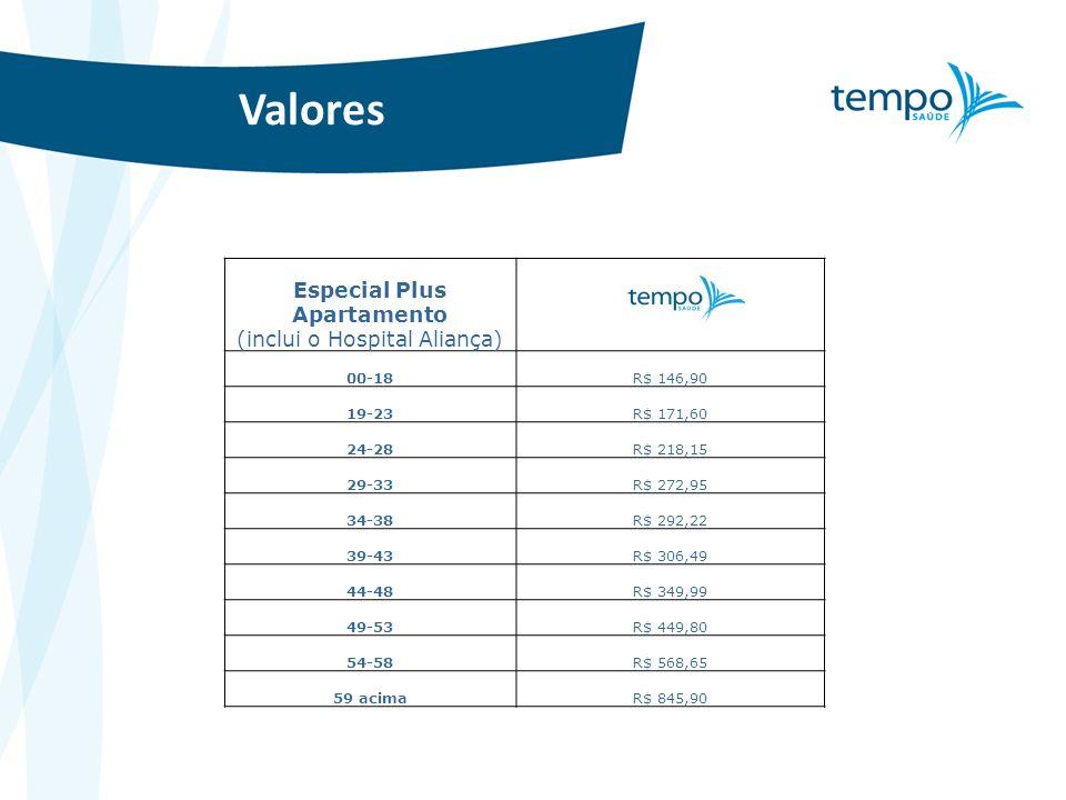 Valores Especial Plus Apartamento (inclui o Hospital Aliança) 00-18R$ 146,90 19-23R$ 171,60 24-28R$ 218,15 29-33R$ 272,95 34-38R$ 292,22 39-43R$ 306,4