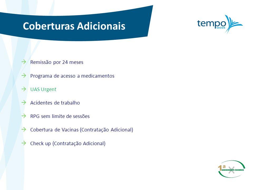 Coberturas Adicionais Remissão por 24 meses Programa de acesso a medicamentos UAS Urgent Acidentes de trabalho RPG sem limite de sessões Cobertura de